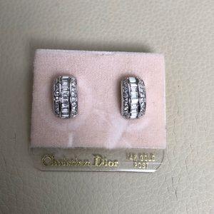 Dior Earrings 14Kt Post White Stone Baguettes